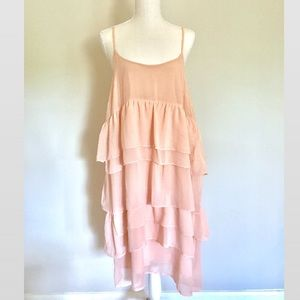 Petal Pink Babydoll Layered Ruffle Dress Sz L